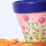 doniczka decoupage dla dzieci różowa kwiatki